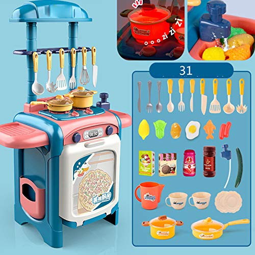 Niños Educativos Juguetes,Miniatura Plástico Cocina Juego,No Tóxica Sin Olor Fácil Montar Duradero,Desarrollar Coordinación Mano Ojo Creatividad Imaginación,Azul