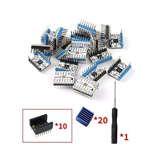 CKQ-KQ Lot de 20 pièces pour imprimante 3D Super Silent TMC2208 V1.2 Moteur pas à pas + 10 Dissipateurs thermiques + 5 Stepstick Lisseur
