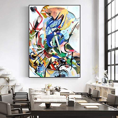 BGFDV Vasily Kandinsky Lienzo Abstracto Pintura Carteles e Impresiones Ilustraciones Famosas Cuadros de Pared para decoración de Sala de Estar