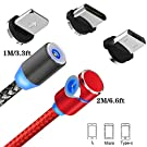 TOPK【2 Pack】 Magnetic USB Cable, 3 in 1 Micro USB/i-Product/Type C 1M Black Cable & 2M Red USB Cable L Side with LEDfor Android Phone, Pad, Galaxy, Google,Huawei Smart phones and More