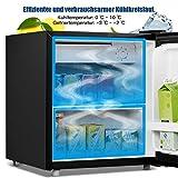 COSTWAY 48L Mini Kühlschrank Kühl-Gefrier-Kombination Flaschenkühlschrank Getränkekühlschrank mit Gefrierfach/wechselbarer Türanschlag / 7 Temperaturstufe einstellbar / 49cm Höhe (Schwarz) - 4