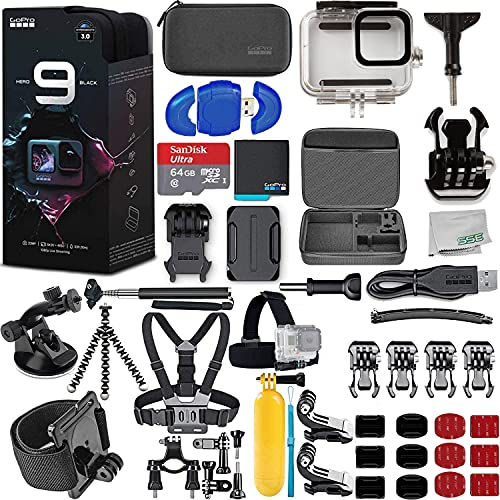 GoPro HERO9 (Hero 9) Black with Deluxe Accessory Bundle - Includes: SanDisk Ultra 64GB MicroSDHC Memory Card, Premium Hard Case for GoPro, Underwater Housing, Helmet Arm Extension Kit & Much More