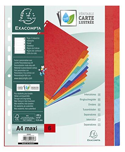 Exacompta - Réf. 2606E - Intercalaires en véritable carte lustrée rigide 400g/m2 FSC® avec 6 onglets neutres - Page d'indexation fournie - Format à classer A4 maxi - Dimensions 24,5 x 29,7 cm