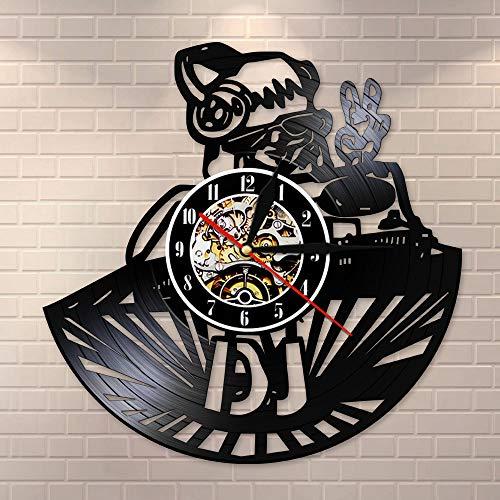 CDNY Zeichentrickfigur Vinylplatte Wanduhr Mixer personalisierter Name Wanduhr Nachtclub Disco Wandbild benutzerdefinierte Geschenk