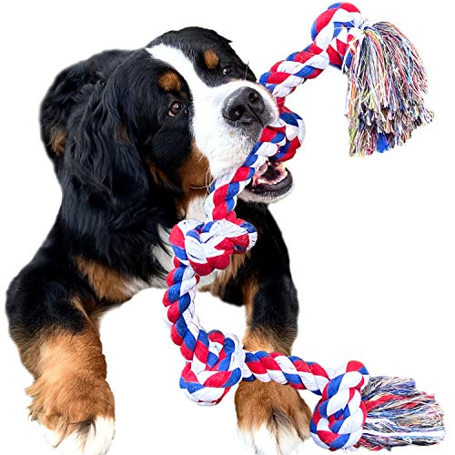 Indestructible Rope for Large Breed Dog Tug War Teeth Cleaning (5 Knots)