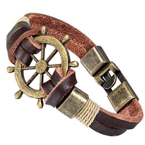 Flongo Legierung Leder Armband Armreif Manschette Baumwollseil Gold Braun Piraten Rudder Jahrgang Stammes Herren,Damen