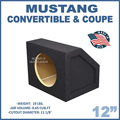 """Fits All Years Ford Mustang Convertible & Coupe 12"""" Single Sealed subwoofer Enclosure"""
