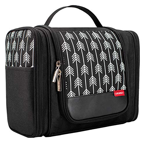 Lekesky Hanging Toiletry Bag Travel Wash Bag Large Shower Bag for Men/Women Cosmetic Organiser Bag Toiletry Organiser Storage Waterproof Bathroom Storage for Business, Vacation, Household, Black