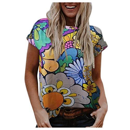 Camiseta informal de manga corta con cuello redondo para mujer, estilo retro, de montaña, floral, colorido, gráfico básico, de verano, blusa