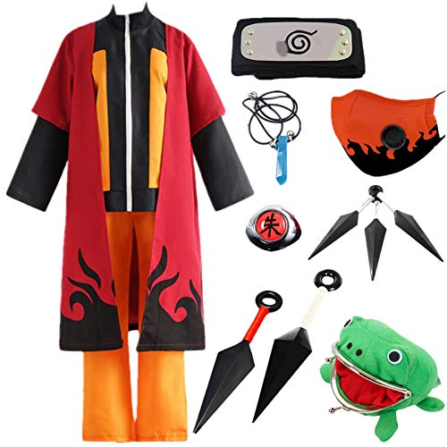 AOGD Anime Naruto Shippuden Uzumaki Naruto Siebte Generation Cosplay Halloween Weihnachten Party Kostüm Umhang Kunai Kartenspielen Erwachsene Kinder Ninja