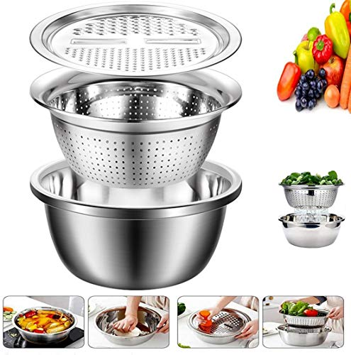 Graters for Kitchen Stainless Steel Pot Drain Basin Washing Rice Drain Basin Slice And Cut Vegetables Grater Multifunction Home Sink Basin,Silver