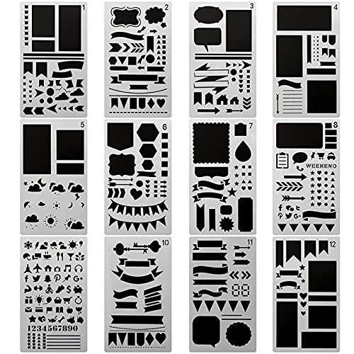 12 Piezas Bullet Journal Plantillas de Dibujo Plantillas Pintura Set Kit para Bullet Journal Reutilizable Painting Stencils, para Albumes de Fotos de Scrapbooking, Tarjetas de Regalo