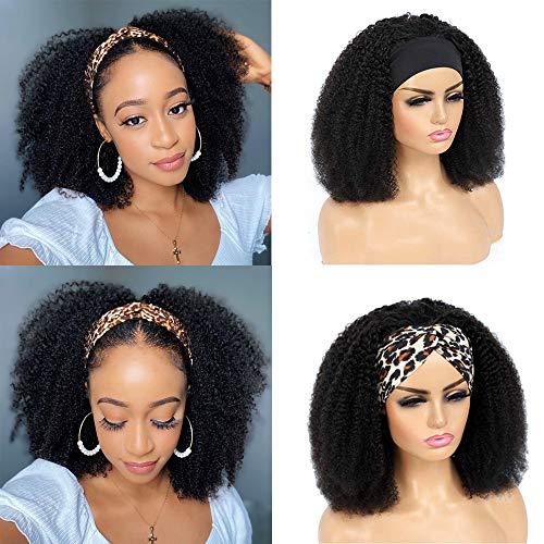 TNICE Headband Perruque Femme Perruque Bresilienne Bouclée 14 Pouces Perruque Cheveux Humain Afro Kinky Curly Hair None Lace Wig Perruque Vrai Cheveux Naturelle Natural Noir Color