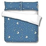 SLQL Juego de ropa de cama Anime Themed con diseño de estrellas y lunas, 3 piezas, 1 funda nórdica y 2 fundas de almohada de microfibra suave de 135 x 200 cm