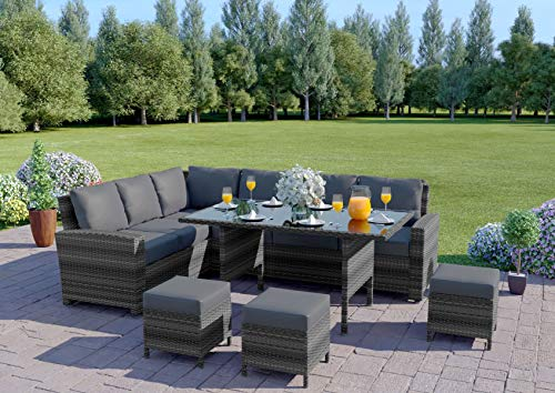 Abreo 9 Seater Corner Rattan Dining Set Garden Sofa Furniture Black Brown Grey INCLUDES RAIN COVER (Dark Mix Grey and Dark Cushions)