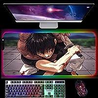 RGBゲーミングマウスパッド呪術廻戦アニメLEDライトゲーミングマウスパッド大型滑り止めラバーベースコンピューターキーボードデスクマット700x300x4mm A