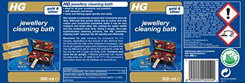 HG Jewellery Cleaning Bath 300 ml - for Jewellery and Dress Jewellery - Jewellery Looks Shiny Clean Again