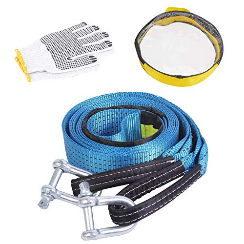 Voilamart Tow Rope Recovery Strap High Strength 8T 5M Towing Strap with Two Safety Hooks & Reflective Strip, Pair of Gloves, Carry Bag, Road Recovery Towing Cable Winch Strap