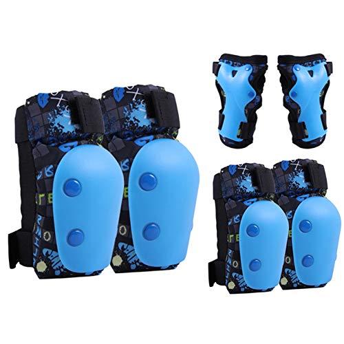 Juego de almohadillas de skate para niños, rodilleras, coderas, muñequeras, 6 unidades, ajustable, kit de equipo de protección para patinaje en bicicleta (azul, tamaño: S)