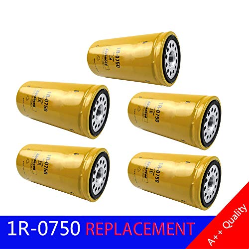 FLYPIG For CAT 1R0750 1R-0750 fuel filter sealed Duramax Caterpillar Engine Oil Filter Fuel Filter Advanced High Efficiency Multipack (Pack of 5)