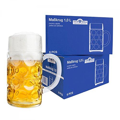 Van Well Set van 12 maatpul 1 liter geijkt | grote bierpul met handvat | Bierglas vaatwasmachinebestendig perfect geschikt voor horeca
