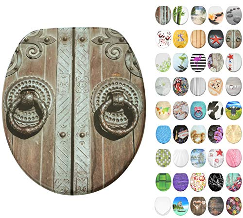 WC Sitz mit Absenkautomatik, große Auswahl, schöne Motive, hochwertige und stabile Qualität aus Holz (Door)