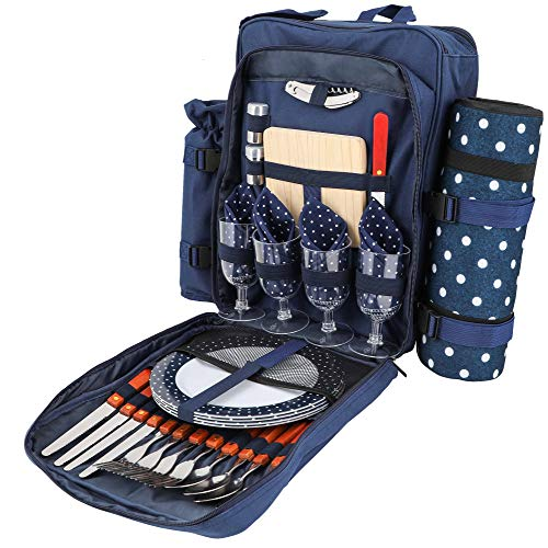 HRDESMN Picnic Backpack for 4 | Deluxe Family Picnic Bag with Insulated Cooler | Quality Picnic Basket Set