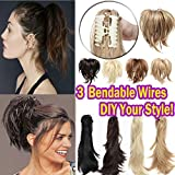 Jaw Claw Clip in Messy Hair Ponytail with Bendable Wires Japanese Synthetic Hair Clip on Pony Tail Extensions for Updo Fluffy 26/613 Blonde