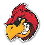 3 Pack - Red Cardinal Angry Bird WINDOW CLING STICKER Car Van Campervan Glass - Sticker Graphic - Construction Toolbox, Hardhat, Lunchbox, Helmet, Mechanic, Luggage