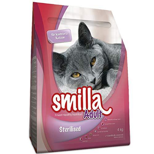 Smilla Adult Sterilisiertes Trockenfutter für Katzen mit Geflügel 10 kg für den Stoffwechsel von neuterierten Katzen mit ausgewogenem Fett- und Energiegehalt