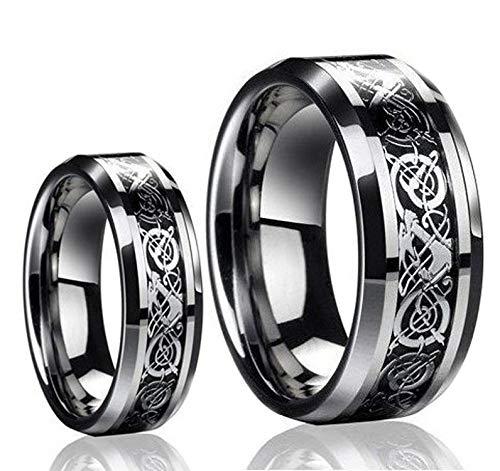 Free Engraving - Men & Ladies Tungsten Carbide Celtic Knot Dragon Design Carbon Fiber Inlay Wedding Band Ring Set