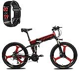 Extrbici Bicicleta de montaña MTB XF770 17 * 26'Bicicleta eléctrica Plegable Montaña 250 vatios 48V Shimano 27 Velocidad Marco de aleación de Aluminio Suspensión Plegable Doble Freno mecánico (Red)