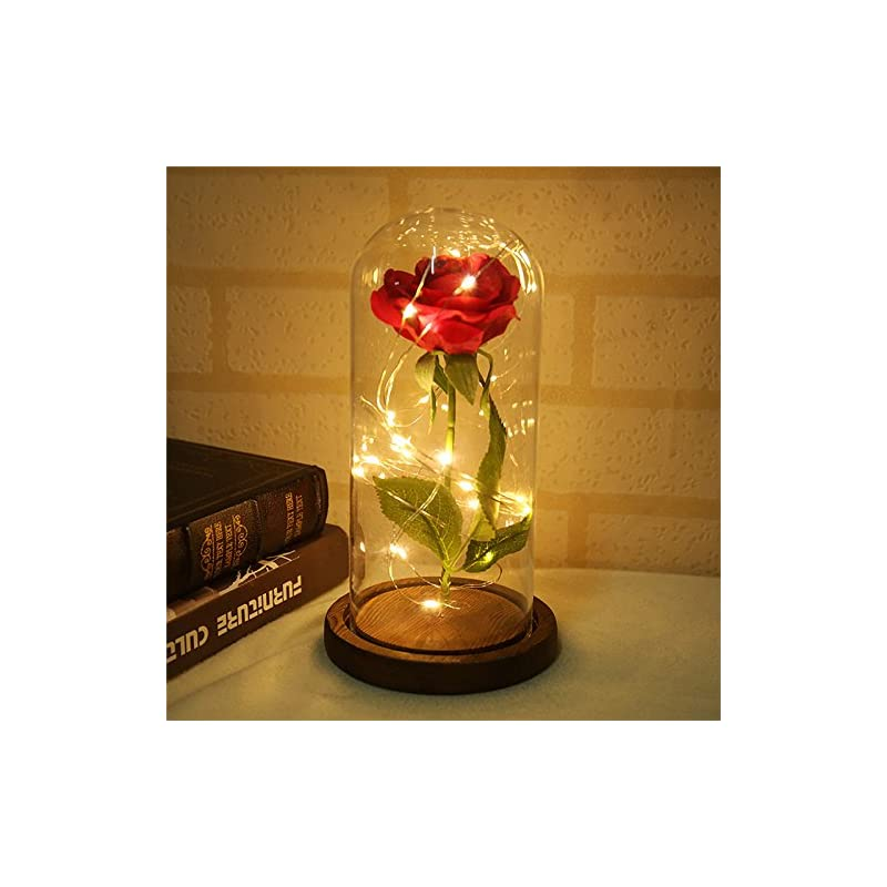 silk flower arrangements vafany beauty and the beast rose kit, red silk rose and led light with green leaves in glass dome on wooden base for home decor holiday party wedding anniversary (brown wooden base)
