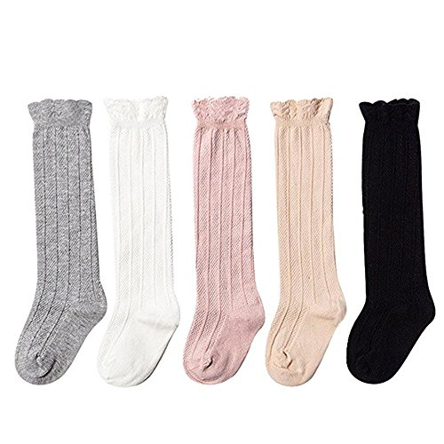Udobuy 5 Pairs Baby Girls Cotton Knee High Socks Kids Toddle Over Calf Knee High Socks (S (3-12 Months))