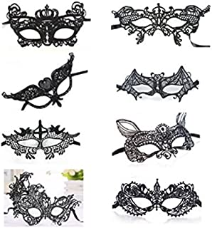 8 Pieces Lace Mask Masquerade Venetian Eyemask Halloween Sexy Woman Lace Mask for Halloween Masquerade Carnival Party Costume Ball, Black
