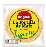 Tortillas de Maíz Mexicanas para Tacos Nagual. Pack de 20 tortillas, 350gr/paquete, 12cm, de maíz amarillo nixtamalizado. Sin gluten, apto para veganos.