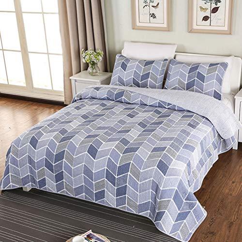 2019 Colcha acolchada 230 x 250 cm Juego de sábanas edredón con estampado de rombo ondulado moderno azul ondulado con 2 * funda de almohada
