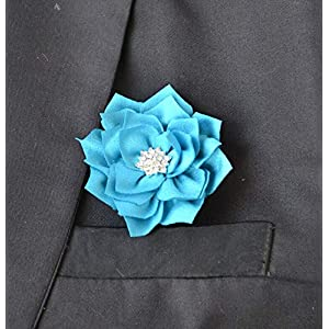 Silk Flower Arrangements Artificial and Dried Flower 5Pcs Man Groom Boutonniere 7 Color Silk Camellia Flower Crystal Wedding Groomsman Corsage Flower Party Prom Man Suit Brooch - ( Color: Sky Blue )