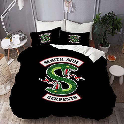 NOLOVVHA Bettwäsche-Set,Mikrofaser,Riverdale - South Side Serpents,1 Bettbezug 135x200 + 2 Kopfkissenbezug
