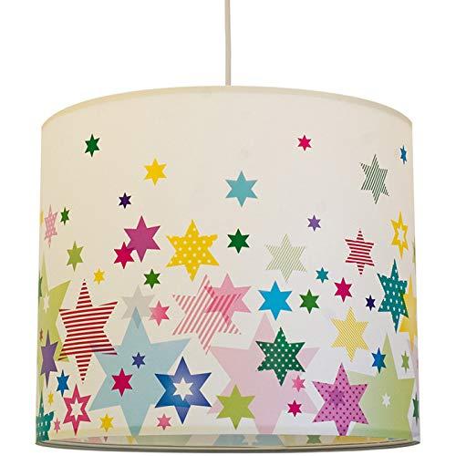 anna wand Hängelampe Stars 4 Girls – Lampenschirm für Kinder/Baby Lampe mit Sternen – Sanftes Kinderzimmer Licht Mädchen & Junge – ø 40 x 34 cm