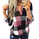 Women Roll Up Long Sleeve Flannel Plaid Shirt Pullover V Neck Slim Tops Casual Loose Boyfriend Tunic T Shirts Blouses