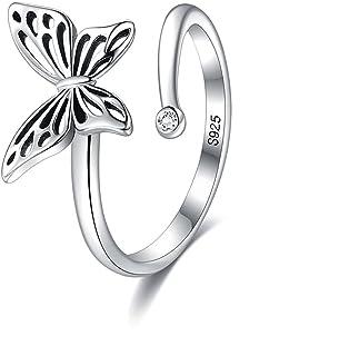 Belons Anillo para mujer de plata de ley 925 con circonita cúbica y mariposa, anillo de dedo ajustable y abierto, joyería ...