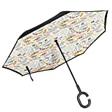 Inverted Umbrella Travel Compact, with C-Shaped Handle, Reverse Folding Pearls Decor Collection Pattern