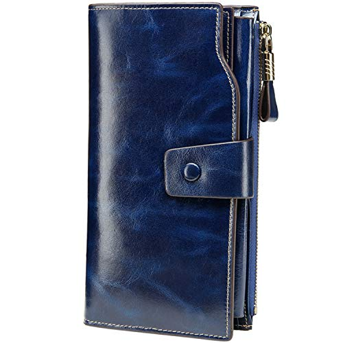 Itslife Women's Large Capacity Luxury Wax Genuine Leather Cluth Wallet Card Holder Ladies Purse (dark blue)