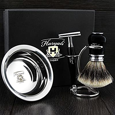 Ready to Use 4 Pcs Men's Shaving Set ft DE Safety Razor ,Sliver Tip Badger Hair Brush, Dual Stand for Both Razor&Brush and Stainless Steel Bowl .Newly Designed Set.Perfect Gift Kit for Him