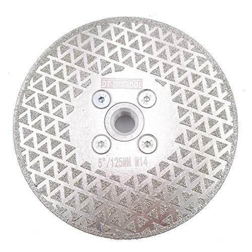 DT-DIATOOL Disco Diamante de Corte y Rectificado 125 mm x M14 Electrochapado de Doble Cara para Piedra Mármol Baldosa Granito