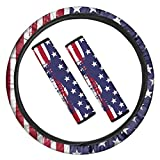 PZZ BEACH Retro Style American Flag 3 Packs Patriotic Auto Accessories, Neoprene Elastic Steering Wheel Cover+ Soft & Comfort Seat Belt Pads