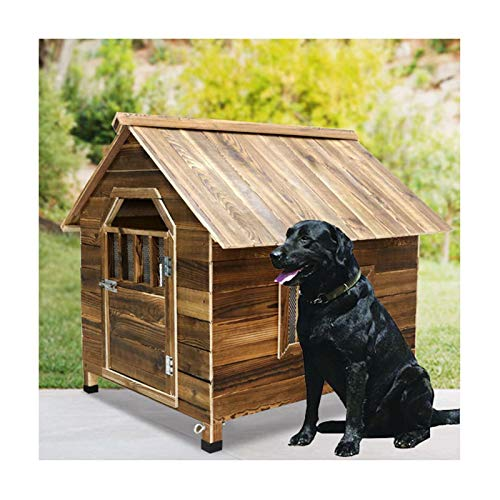 Caseta De Madera Maciza For Perro Casa Casa Mascota con Placa Inferior Extraíble Y Ventanas Transpirable, Impermeable, Resistente A La Intemperie Y A La Corrosión, Duradero (Size : 88×77×81cm)