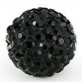 RUBYCA Pave Czech Crystal Disco Ball Clay Beads fit Shamballa Jewelry (50pcs, 10mm, JB Black)