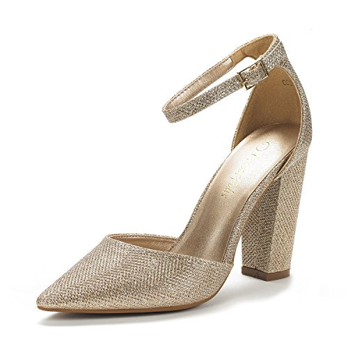 DREAM PAIRS Women's Coco Gold Glitter Mid Heel Pump Shoes - 5.5 M US